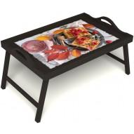 Столик для завтрака в постель «Малиновое настроение» с ручками цвет венге