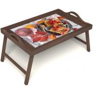 Столик для завтрака в постель «Малиновое настроение» с ручками цвет орех