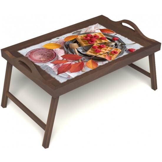 Столик для завтрака в постель «Русская берёза», «Малиновое настроение» с ручками цвет орех