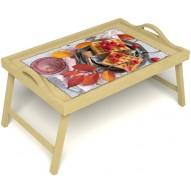 Столик для завтрака в постель «Малиновое настроение» с ручками цвет светлый