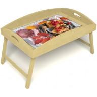 Столик для завтрака в постель «Малиновое настроение» с высоким бортиком цвет светлый