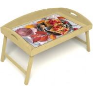 Столик для завтрака в постель «Малиновое настроение» с 3-мя высокими бортиками цвет светлый