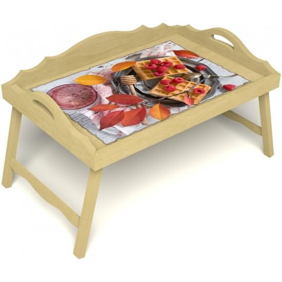 Столик для завтрака в постель «Русская берёза», «Малиновое настроение» с 3-мя фигурными бортиками цвет светлый