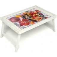 Столик для завтрака в постель «Малиновое настроение» без ручек цвет белый