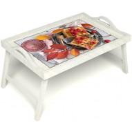 Столик для завтрака в постель «Малиновое настроение» с ручками цвет белый