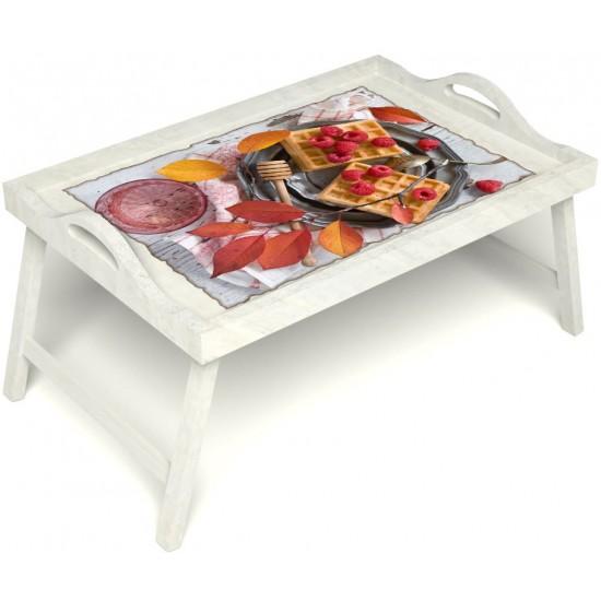 Столик для завтрака в постель «Русская берёза», «Малиновое настроение» с ручками цвет белый
