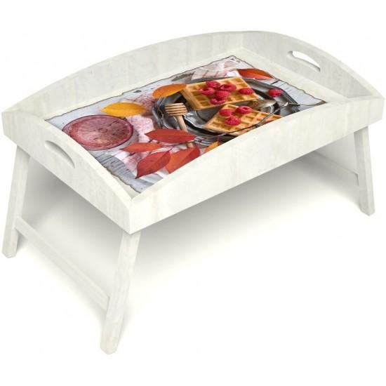 Столик для завтрака в постель «Русская берёза», «Малиновое настроение» с высоким бортиком цвет белый