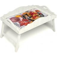 Столик для завтрака в постель «Малиновое настроение» с фигурным бортиком цвет белый