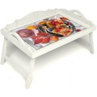 Столик для завтрака в постель «Малиновое настроение» с 3-мя фигурными бортиками цвет белый