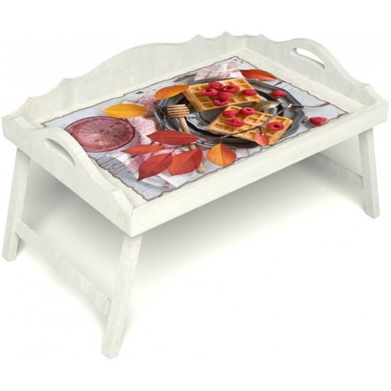 Столик для завтрака в постель «Русская берёза», «Малиновое настроение» с 3-мя фигурными бортиками цвет белый
