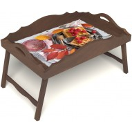 Столик для завтрака в постель «Русская берёза», «Малиновое настроение» с фигурным бортиком цвет орех