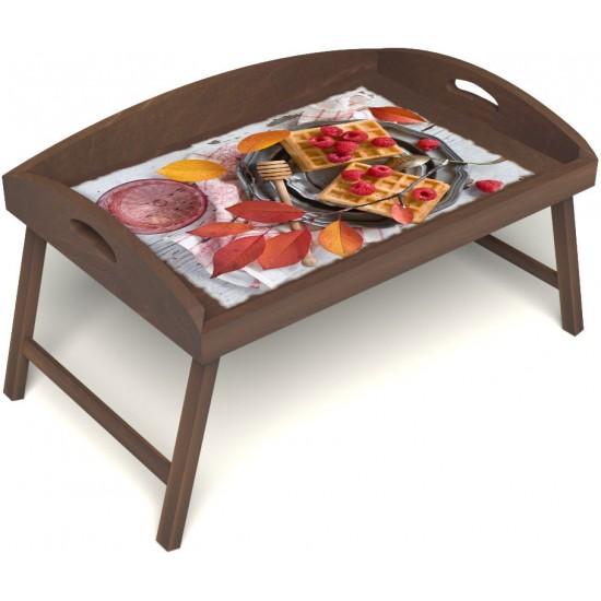 Столик для завтрака в постель «Русская берёза», «Малиновое настроение» с 3-мя высокими бортиками цвет орех