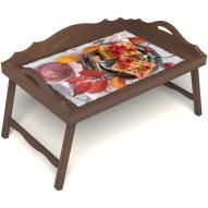 Столик для завтрака в постель «Малиновое настроение» с 3-мя фигурными бортиками цвет орех