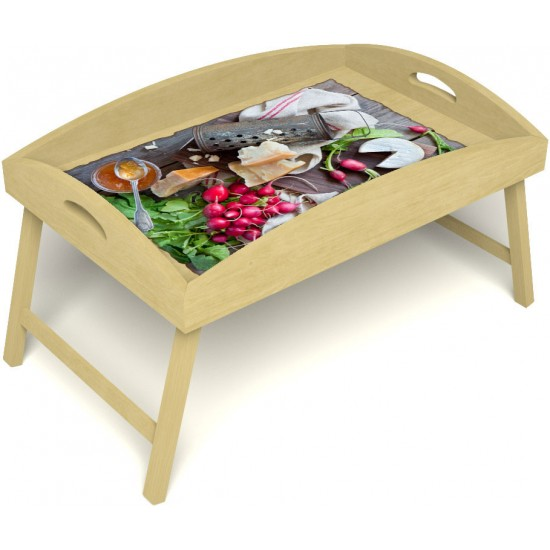 Столик для завтрака в постель «Русская берёза», «Мировой закусон» с высоким бортиком цвет светлый