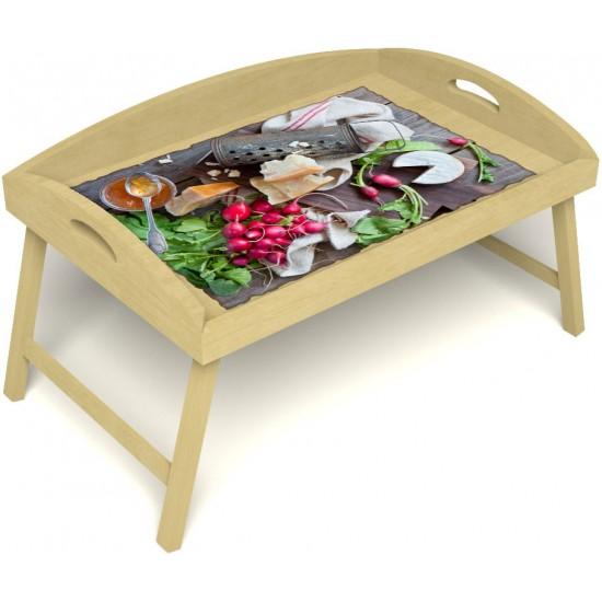 Столик для завтрака в постель «Русская берёза», «Мировой закусон» с 3-мя высокими бортиками цвет светлый