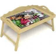 Столик для завтрака в постель «Русская берёза», «Мировой закусон» с 3-мя фигурными бортиками цвет светлый