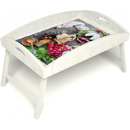 Столик для завтрака в постель «Русская берёза», «Мировой закусон» с высоким бортиком цвет белый