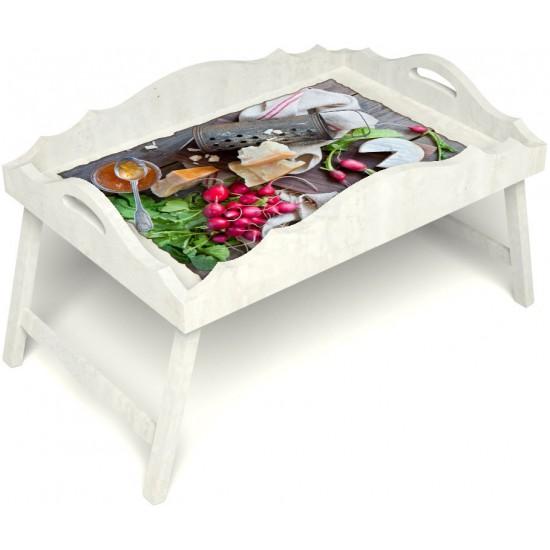 Столик для завтрака в постель «Русская берёза», «Мировой закусон» с фигурным бортиком цвет белый