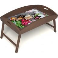 Столик для завтрака в постель «Мировой закусон» с высоким бортиком цвет орех