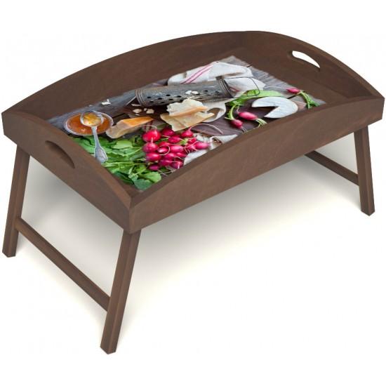 Столик для завтрака в постель «Русская берёза», «Мировой закусон» с высоким бортиком цвет орех