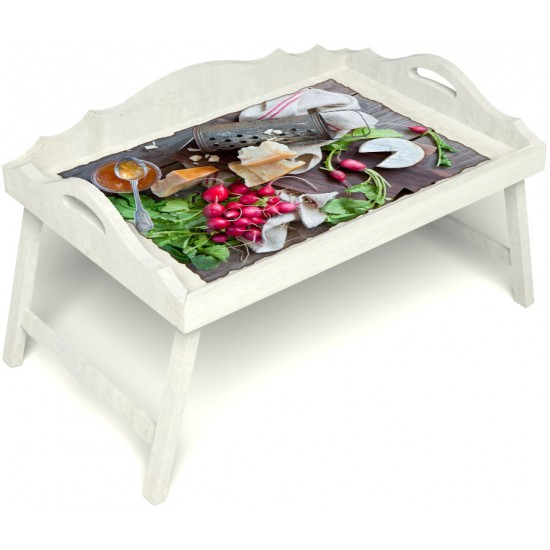Столик для завтрака в постель «Русская берёза», «Мировой закусон» с 3-мя фигурными бортиками цвет белый