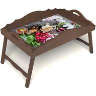 Столик для завтрака в постель «Мировой закусон» с фигурным бортиком цвет орех