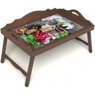 Столик для завтрака в постель «Мировой закусон» с 3-мя фигурными бортиками цвет орех