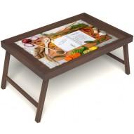 Столик для завтрака в постель «Рецепт счастливой жизни» без ручек цвет орех