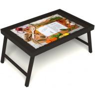 Столик для завтрака в постель «Рецепт счастливой жизни» без ручек цвет венге