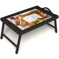 Столик для завтрака в постель «Рецепт счастливой жизни» с ручками цвет венге