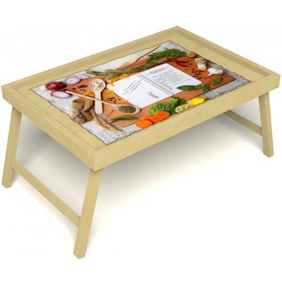 Столик для завтрака в постель «Русская берёза», «Рецепт счастливой жизни» без ручек цвет светлый