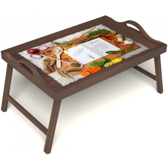 Столик для завтрака в постель «Русская берёза», «Рецепт счастливой жизни» с ручками цвет орех