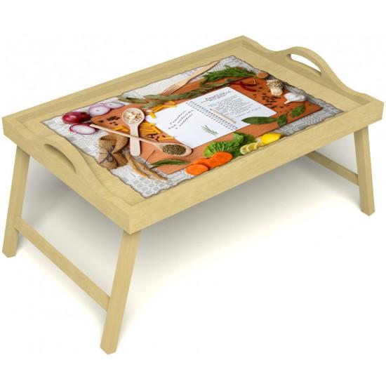 Столик для завтрака в постель «Русская берёза», «Рецепт счастливой жизни» с ручками цвет светлый