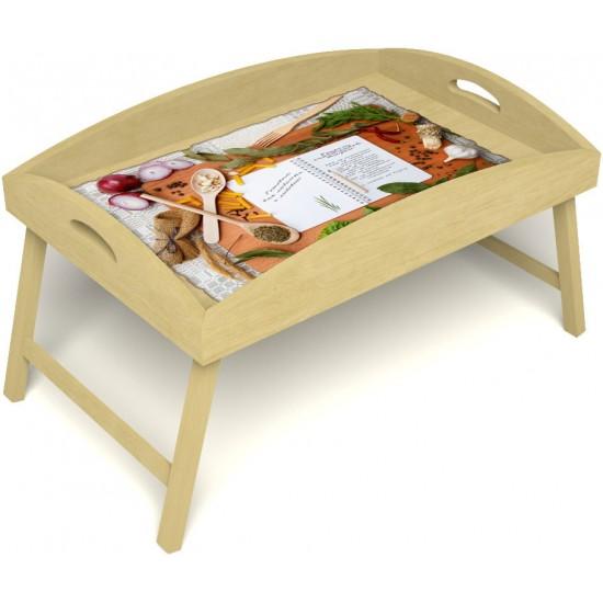 Столик для завтрака в постель «Русская берёза», «Рецепт счастливой жизни» с высоким бортиком цвет светлый