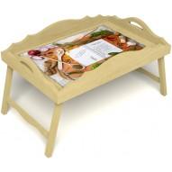 Столик для завтрака в постель «Рецепт счастливой жизни» с фигурным бортиком цвет светлый