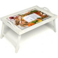 Столик для завтрака в постель «Рецепт счастливой жизни» с ручками цвет белый