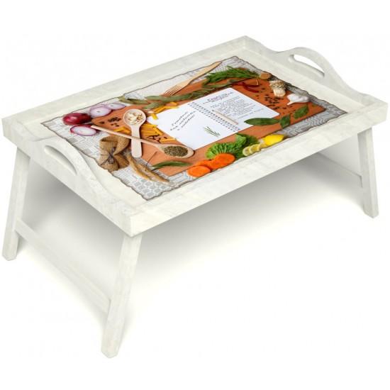 Столик для завтрака в постель «Русская берёза», «Рецепт счастливой жизни» с ручками цвет белый