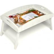 Столик для завтрака в постель «Рецепт счастливой жизни» с высоким бортиком цвет белый