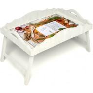 Столик для завтрака в постель «Рецепт счастливой жизни» с фигурным бортиком цвет белый