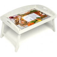 Столик для завтрака в постель «Рецепт счастливой жизни» с 3-мя высокими бортиками цвет белый