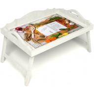 Столик для завтрака в постель «Рецепт счастливой жизни» с 3-мя фигурными бортиками цвет белый