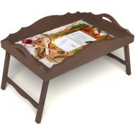 Столик для завтрака в постель «Рецепт счастливой жизни» с фигурным бортиком цвет орех