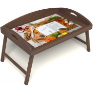 Столик для завтрака в постель «Русская берёза», «Рецепт счастливой жизни» с 3-мя высокими бортиками цвет орех