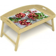 Столик для завтрака в постель «Вкус малины на губах» с 3-мя высокими бортиками цвет светлый