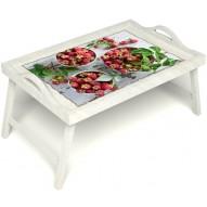 Столик для завтрака в постель «Вкус малины на губах» с ручками цвет белый