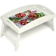 Столик для завтрака в постель «Вкус малины на губах» с высоким бортиком цвет белый