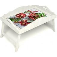 Столик для завтрака в постель «Вкус малины на губах» с фигурным бортиком цвет белый