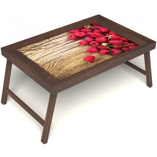Столик для завтрака в постель «Русская берёза», «Ягода-малина» без ручек цвет орех