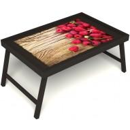 Столик для завтрака в постель «Ягода-малина» без ручек цвет венге