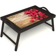 Столик для завтрака в постель «Ягода-малина» с ручками цвет венге
